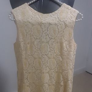 vintage yellow white babydoll dress